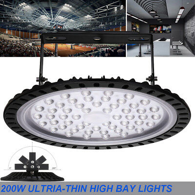 UFO LED High Bay Light 200W Ultra-thin Warehouse Replacement Lamp COOL/DAY WHITE