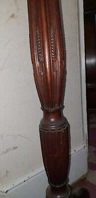 Large beautiful wood hand carved antique Standard Lamp barley wheat detail.