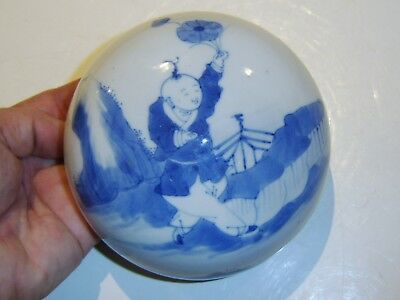 very large FINE EARLY ANTIQUE BLUE WHITE CHINESE LID FOR A GINGER JAR VAS BOTTLE