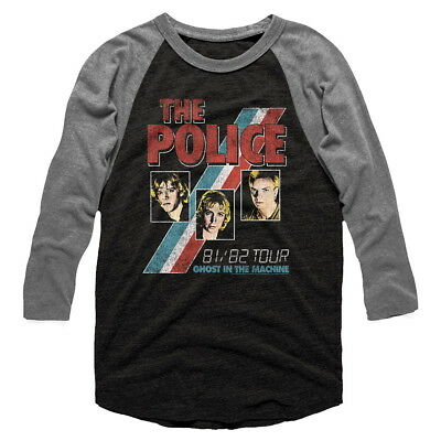 The Police Ghost IN Machine Raglán Gris Camisa con Licencia Banda Camiseta S M L