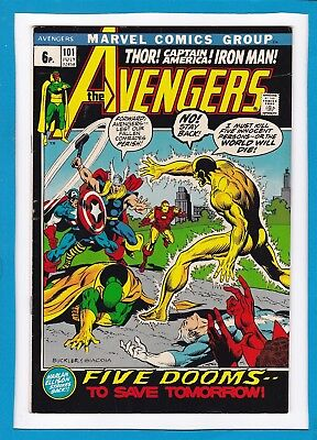 """Avengers #101_July 1972_Very Fine_""""five Dooms To Save Tomorrow""""_Bronze Age Uk!"""