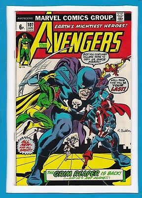 """Avengers #107_January 1973_Very Fine_""""the Grim Reaper Is Back""""_Bronze Age Uk!"""