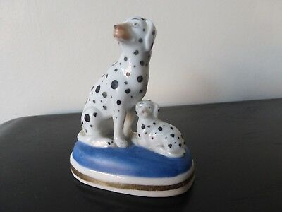 """Excellent China Figure Of 2 Dogs With Black Spots; Makers """"anchor Mark"""""""