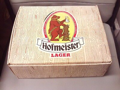 Vintage/Retro 1980s Hofmeister Lager 3 x Graduated Boot Shaped Beer Glasses +Box