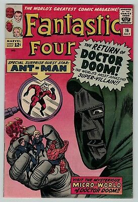 Fantastic Four 16 Dr Doom Ant-man Lee Kirby Silver Age 1963 nice VG VG+