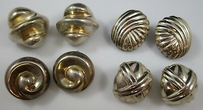 Clip On Earrings Sterling Silver Vintage Signed SU & KUO Lot of 4 Pairs