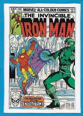 """Invincible Iron Man #136_July 1980_Vf+_""""beginning Of The Endotherm""""_Bronze Uk!"""