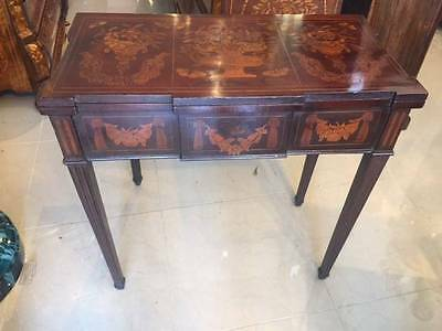 Superb Antique Game or Card Table Mahogany Dutch Marquetry Flip Top