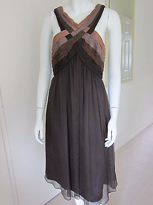 BNWT new with tags MONSOON Brown Cocktail Evening party event Dress Size 10 £79