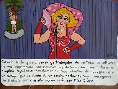 Ex voto ex-voto mexican painting with Drag Queen theme hand made