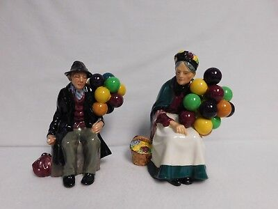 "Royal Doulton ""the Balloon Man & The Old Balloon Seller"" Vintage Figurines"