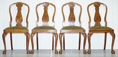 Four Solid Walnut Dining Chairs Claw & Ball Legs Circa 1940 Chippendale Style 4