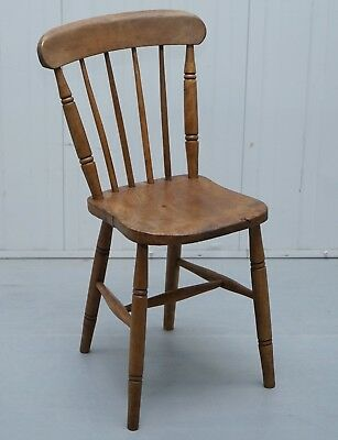 Victorian Windsor Spindle Back Dining Chair Solid Carved Elm Part Of A Large Set