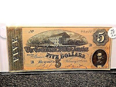 1864 The Confederate States of America $5 Note