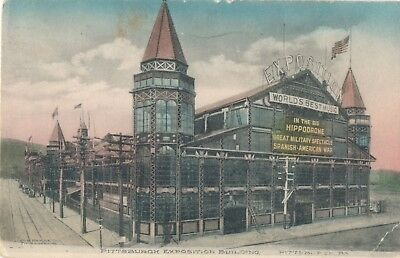 1909 Exotic Hippodrome Pittsburgh Exposition Building, PA Hand Colored Postcard