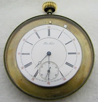 Antique Swiss Fred Nicoud Pocket Watch With Brass Display Case