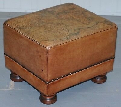 Lovely Aged Brown Leather Map Detailed Footstool From Tetrad Comfortable