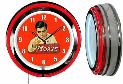 "Drink Moxie 19"" Double Neon Clock Red Neon Chrome Finish Advertising Clock"