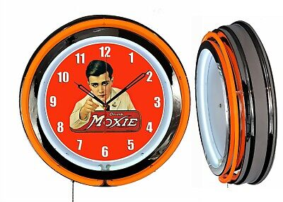 "Drink Moxie 19"" Double Neon Clock Orange Neon Chrome Finish Advertising Clock"