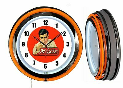 "Drink Moxie 19"" Double Neon Clock Orange Neon Chrome Finish Advertising"
