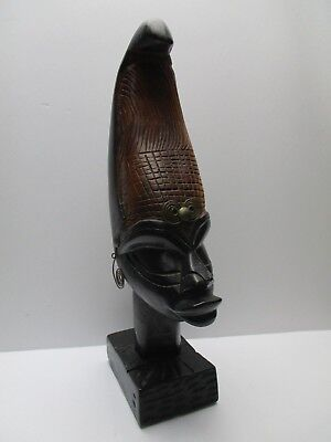 Hand Carved Ebony Wood Sculpture African Tribal Art Woman Head Statue Figure