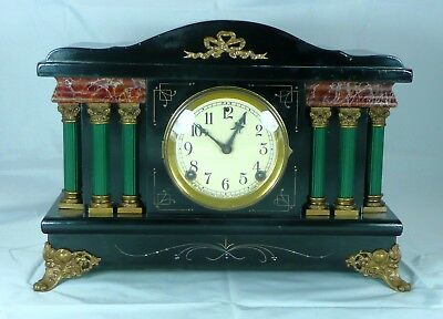 Completely serviced & restored Antique Sessions Black Enameled Wood Mantel Clock