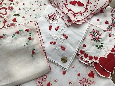 A+ 6 Vintage Valentine's Day Hankies Prints Embroidered Red Hearts Roses Doves