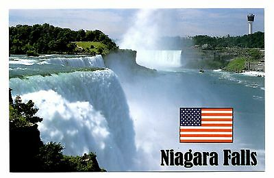 Niagara Falls Postcard New York US Flag American Horseshoe Prospect Point Skylon