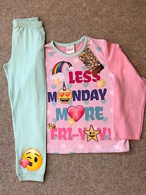 Girls EMOJI Pyjamas Pink Love Hearts Long Sleeve Pyjamas 6-11 Yr Pjs New Genuine