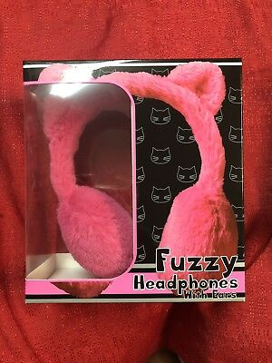 Fuzzy Furry Headphones With Kitty Cat Ears - PINK Over The Head Wired