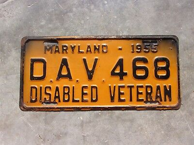 Maryland 1955 Disabled Veteran  license plate #  D.A.V. 468