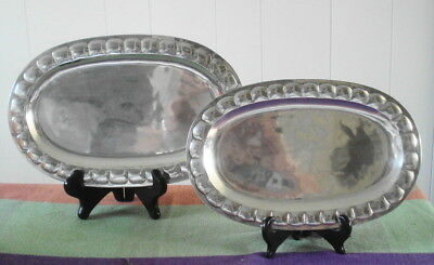 2 Early Sterling Silver Sanborns Mexico Oval Platters Trays 553 grams