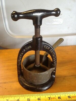 Antique Cast Iron Embossed Columbia Meat Juice Press Collectible Kitchenware