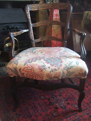 ANTIQUE (1800's) FRENCH ASH LADDER BACK ELBOW CHAIR