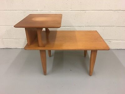 Mid-Century Blonde Heywood Wakefield M1574G Step up End Table Champagne Maple