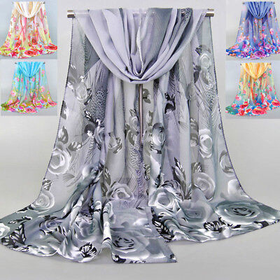 Fashion Ladies Chiffon Rose & Feathers Printed Shawl Scarf Women Warp Scarves
