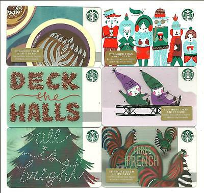 Lot of (6) Starbucks Holiday Hanukkah Kids Sled Gift Cards No$ Value Collectible