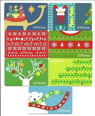 Lot of (7) JC Penney 2018 Christmas Holiday Gift Cards No $ Value Collectible