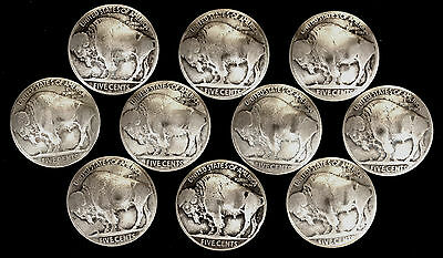 "10 Buffalo Nickel Concho Buttons - 1/8"" Chicago Screw Back - B - BIN"