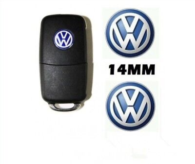 2 x 14mm VW BLUE Replacement Key Fob Badge Sticker