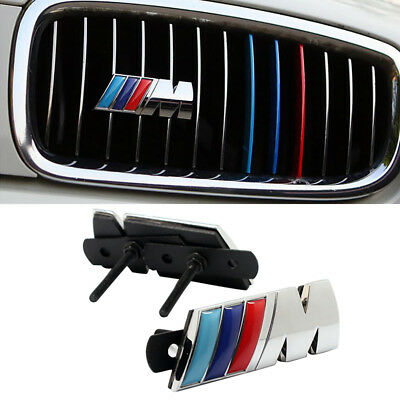 3D Metal Chrome M Performance Power Car Front Grille emblem logo For BMW
