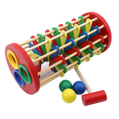 Wooden Knocking Ball Off Ladder With Hammer Toy Children Early Education Toys