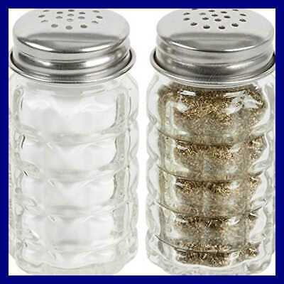 Great Credentials Retro Style Salt & Pepper Shakers W Stainless Tops Set Of 2