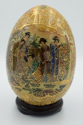 VINTAGE, JAPANESE, Hand Painted Satsuma Egg with Geishas and Lacquer Stand