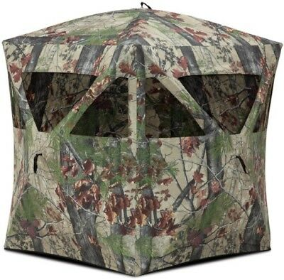 Silent Ground Hunting Blind Outdoor Pop-up, Bloodtrail Backwoods Camo Portable