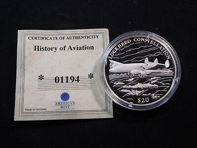 M6 Africa Liberia 2000 Silver 20g $20 History of Aviation Proof Capsuled w/ COA