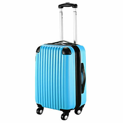 """GLOBALWAY 20"""" Blue ABS Carry On Luggage Travel Bag Trolley Suitcase Expandable"""