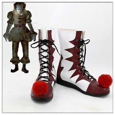 Stephen King's It Shoes Pennywise Clown Joker Cosplay Boots Halloween Costume jd