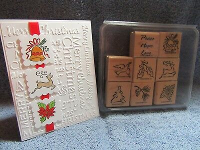stampin up HOLIDAY MINIS-deer-dove-Christmas tree-poinsettia-holly-lot + card