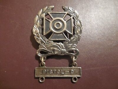 WWII Expert Badge Pin Back Pistol -D Bar Medal Military Marksman Insignia Meyer